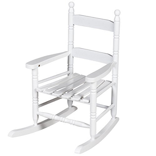 Costzon Kids Rocking Chair, Children Classic Wooden Proch Rocker, White