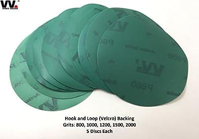World Abrasive   5-Inch No-Hole Sanding Discs Assortment   Hook & Loop Film Wet/Dry Sandpaper for Random Orbital Sanders