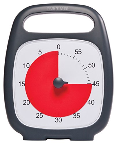 """Time Timer TTP7-W TTP7-W Plus 60 Minute Visual Analog Timer; Optional Alert (Volume-Control Dial); Silent Operation (No Ticking); 5.5"""" Wide x 7"""" Tall; Time Management Tool; Charcoal by Time Timer (Image #1)"""