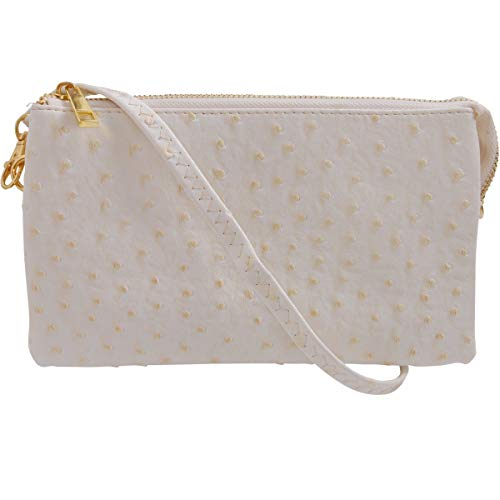 Humble Chic Vegan Leather Faux Ostrich Wristlet - Textured Dot Convertible Wallet Crossbody Bag Clutch Purse with Shoulder Strap, Ivory Ostrich, Off White, - White Textured Leather