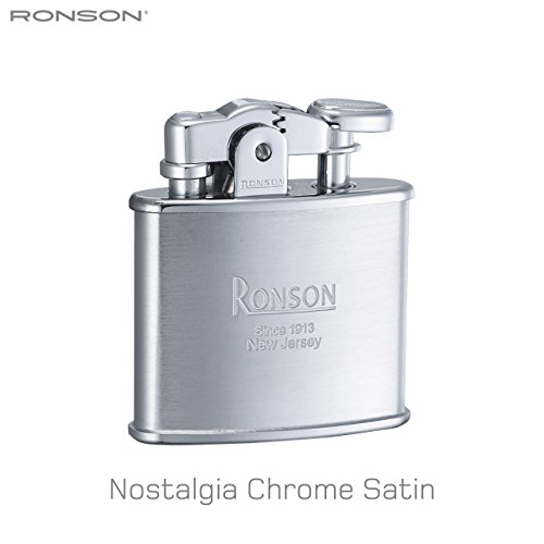 Ronson Nostalgia Standard Satin Chrome Soft Flame Petrol Lighter New Gift Boxed