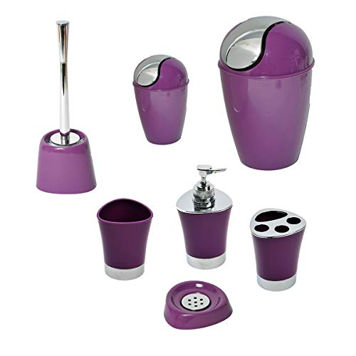 EVIDECO Toothbrush Holder Bathroom Tumbler Shiny Color with Chrome Base 3.15'x3.94', Purple