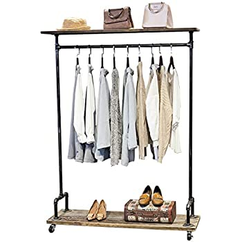 MBQQ Industrial Pipe Clothing Rack On Wheels,Rolling Iron Garment Racks  With Shelves, Commercial Grade Clothing Racks Heavy Duty,Vintage Steampunk  Clothes ...