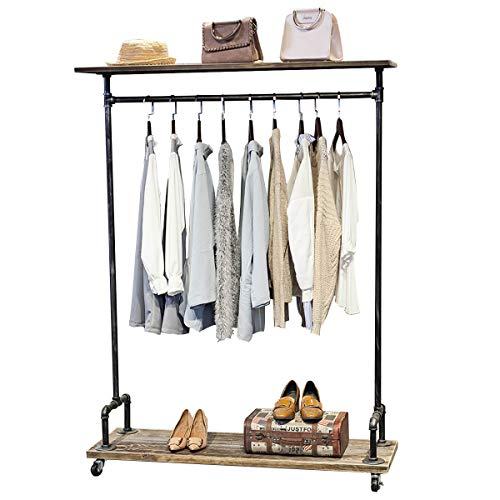 (MBQQ Industrial Pipe Clothing Rack on Wheels,Rolling Iron Garment Racks with Shelves, Commercial Grade Clothing Racks Heavy Duty,Vintage Steampunk Clothes Rack Retail Display Wood)