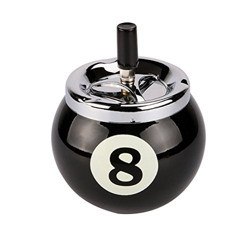 WINOMO Metal Cigarette Ashtray No.8 Billiards Ball Ashtray Push Down Spinning Ashtray for Home Office Outdoor Ball Ashtray
