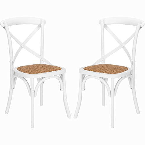 Poly and Bark Cafton Crossback Chair in White (Set of 2) (White Chairs Kitchen Rattan)