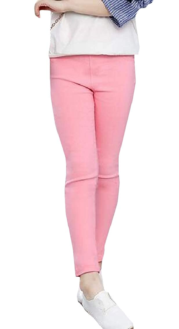 Hajotrawa Girls Stretch Kids Pants Pure Color Candy Color Legging