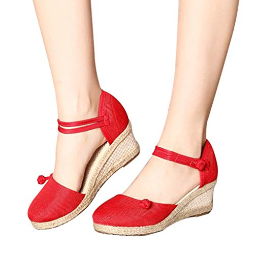 andals, Ladies Casual Linen Canvas Buckle Strap Sandals Closed Toe Single Shoes Size 4.5-7.5 (Red, US:6) ()