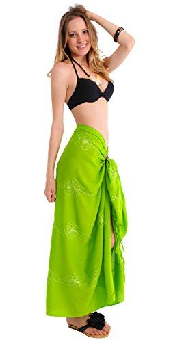 1World para mujer pareos Bañador Bordado pareo en su elección de colores Verde lima (Lime Green)
