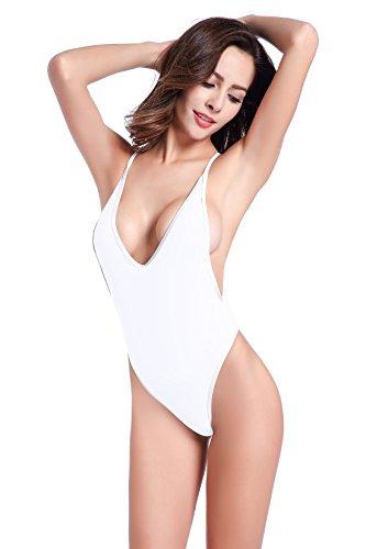 SHEKINI Women's High Cut One Piece Backless Thong Brazilian Bikini Swimsuits (Small/(US 4-6), Venice White) (Thongs Women In And Bikinis)