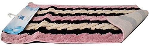 Tache Striped Pattern Multi Pink Raspberry Garden Non Slip Skid Resistant Shower Floor Bath Bathroom Rug Mat