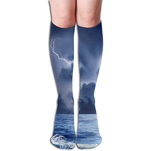 19.68 Inch Compression Socks Thunder Lightning High Boots Stockings Long Hose For Yoga Walking For Women -