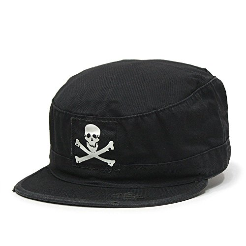 (Vintage Fatigue Distressed Cadet Military Radar Cap (M, Jolly Roger Black))