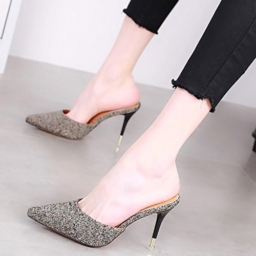 Sexy Heels Match Baotou Slippers Shoes Pointed Color Spring Black All 39 Elegant Work Leisure Lady 9Cm MDRW PxYzqgw