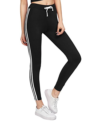 White Stripe Leggings - Romwe Women's Drawstring Waist Side Stripes Yoga Jogger Leggings Pants Black M