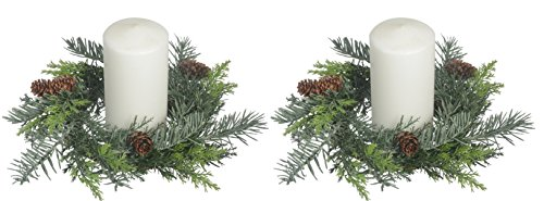 Set of 2, 10 Inch Artificial Pine Christmas Candle Rings With Pine Cones And Light Snow Sparkle For A 4.5 Inch Pillar (Sparkle Pillar Candles)