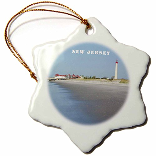 3dRose orn_80580_1 Cape May New Jersey with Lighthouse n Beach Snowflake Porcelain Ornament, 3-Inch (Cape Christmas May)