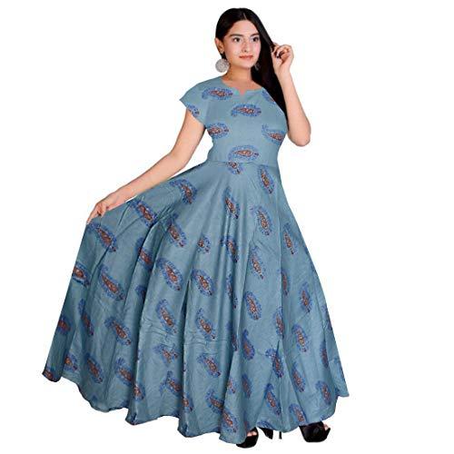 Khushi Print Women's Cotton Western Wear Long Dress (FR_4197, Multicolour, Free Size)