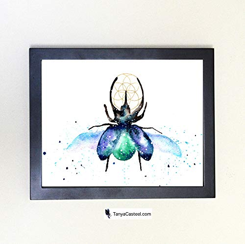 (Scarab Beetle Spirit Animal Art Print from Watercolor Painting)