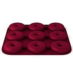 Large Ultra-Premium Donut Pan, Eco-Friendly; BPA Free, Super THICK 9 Cavity Silicone Donut, Bagel Pan, Non-stick; Heavy Duty Commercial Grade Doughnut Mold-100% Silicone, Burgundy Wine