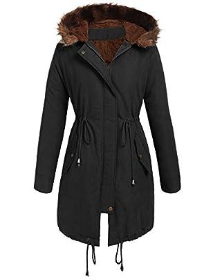 Beyove Women Winter Warm Hoodie Faux Fur Lined Down Parka Outdoor Long Jacket Coats