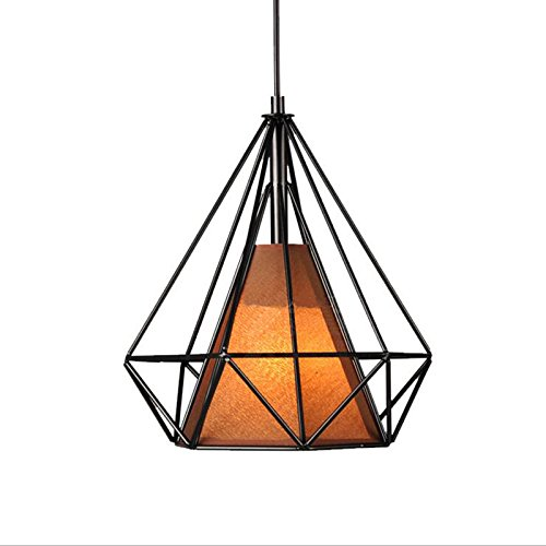 Cheap WINSOON Industrial Metal Cage Guard Wrought Iron Diamond Shape Shade Modern Hanging Ceiling Pendant Light (1 Head Brown Inside)