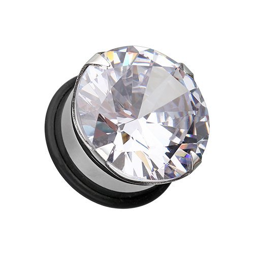 Covet Jewelry Magnum CZ Prong Single Flared Hollow Ear Gauge Plug (9/16'' (14mm))
