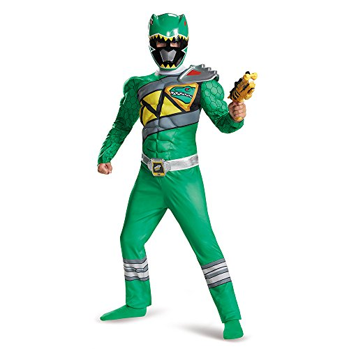 Power Green Ranger Costumes (Green Ranger Dino Charge Classic Muscle Costume, Large)