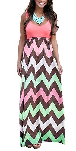Silk Dress Empire - Demetory Women's Boho Sleeveless Chevron Zig Zag Casual Maxi Dress (XX-Large, 1062_Pink)