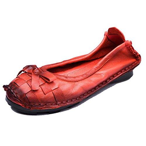 Binying Kvinna Avslappnad Handgjorda Bowknot Mjuk Sula Flat Loafer Pumpar Röd