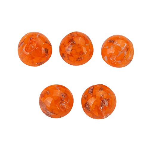 5pc 10mm Round Lampwork Glass Loose Spacer Beads Jewelry Accessories Decoration (Color - Orange) ()