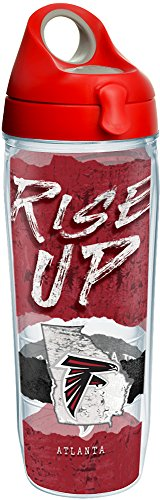 Tervis 1251849 NFL Atlanta Falcons NFL Statement Tumbler with Wrap and Red with Gray Lid 24oz Water Bottle, Clear