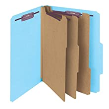 "Smead Pressboard Classification Folder with SafeSHIELD Fasteners, 3 Dividers, 3"" Expansion, Letter, Blue, 10 each per box (14094)"