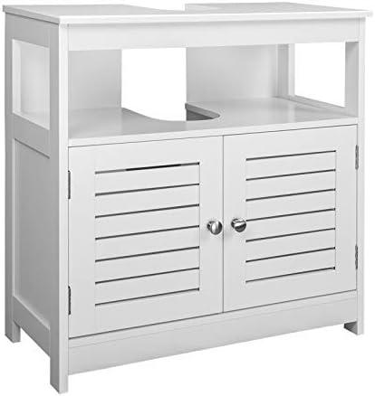 eSituro Mueble Bajo Lavabo Armario de Suelo para Baño Mueble de Baño Organizador 2 Puertas, MDF Blanco 60x30x60cm SBP0023: Amazon.es: Hogar