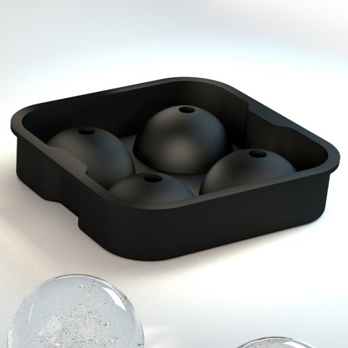 """ROX Sphere Ice Ball Maker - Classic Black Silicone Ice Ball Mold with 4 X 2"""" Ball Capacity Tray. Flexible Round Silicone Mold for Easy Removal of Ice Balls. Taste the Whiskey Not the Water. Like Macallan's Ice Press Machine. Large Round Ice Melts Slower. By Simple Home Creations"""