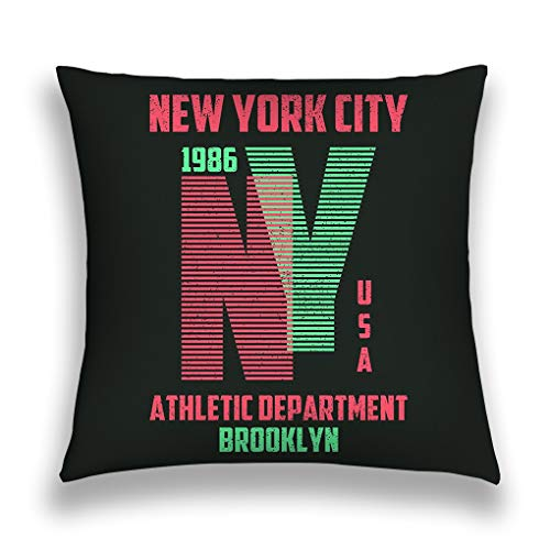 wuhandeshanbao Throw Pillow Cover Pillowcase New York Typography Brooklyn Lines Slogan ny Trendy Apparel Athletic Clothes Sofa Home Decorative Cushion Case 18