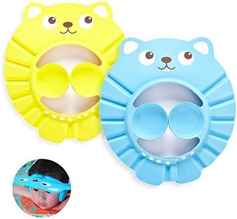 Keukendroom Peuter Douche Cap 2 stks Verstelbare Baby Shampoo Caps Shield Kids Waterdichte Bescherming Badcaps Douche Visor Oordopjes Hoed voor Peuter Kinderen Baby ZorgGeel Blauw