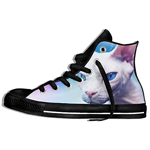 Classic High Top Sneakers Canvas Shoes Anti-Skid Bad Kitty Casual Walking For Men Women Black oxJoWo6mIv