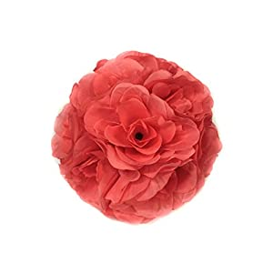 Ben Collection 10 Pack of Fabric Artificial Flowers Silk Rose Pomander Wedding Party Home Decoration Kissing Ball Trendy Color Simulation Flower (Coral, 20cm) 23