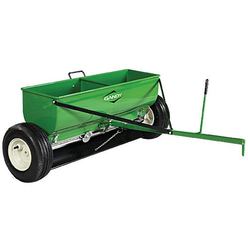 Gandy Towable Drop Spreader with Steel Hopper and Pneumatic Tires - 120 Pound Capacity, Green