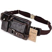 Loyofun Unisex Brown Genuine Leather Waist Bag Messenger Fanny Pack Bum Sling Bag For Men Women Travel Sports Running Hiking