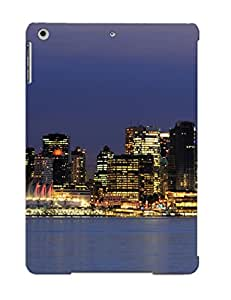 Burnednilsi Case Cover Protector Specially Made For Ipad Air Vancouver Canada Architecture Buildings Skyscrapers Night Sky Moon Skyline Cityscapes