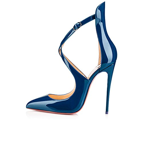 Pumps Shoe Toe Dress Shoes Ankle Stiletto Womens Court Blue Pointed Shoes High Heels Fashion EDEFS Strap 1Hw681qY