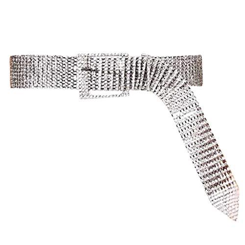 Gold Diamond Belt Buckle - Jialili Women's Diamond Shining Inlay Ten Rows Diamond Belt Waistband Waist Belt Pants(105cm,White)