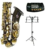 E Flat Black Alto Saxophone with Case,Mouth Piece,Black Music Stand+Metro Tuner