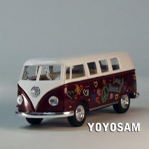 ToySmith 1962 Volkswagon Micro Bus Beetle Die-Cast Collectable VW Van/Car-Maroon