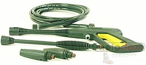 Juego de pistolas pulverizadoras Parkside PHD 100 A, A1, B2, C2, D2 compuesto de pistola pulverizadora, manguera de alta presión, boquilla de alta presión, boquilla de chorro plano.