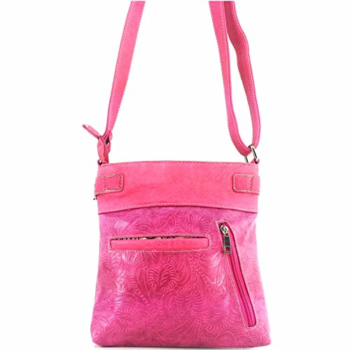 Roses Crossbody Skull Sugar Concealed Winged Laser Bag and Hot Justin Cut Phone with Messenger Purse Carry Slot Tooled Pink West Handbag wI8pqx4X