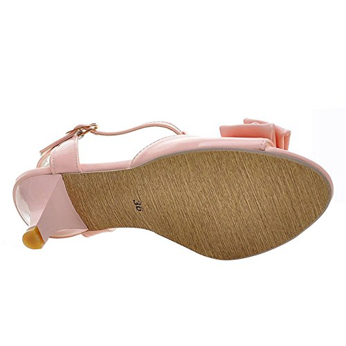 FANIMILA Mujer Moda Correa En T Peep Toe Sandalias Dulce Bowtie Mini Tacon Zapatos Rosado