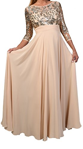 """3/4"""" Sleeve Womens Ladies Fashion Mother of Bride Long Lace Evening Formal Dress (2x, champagne)"""